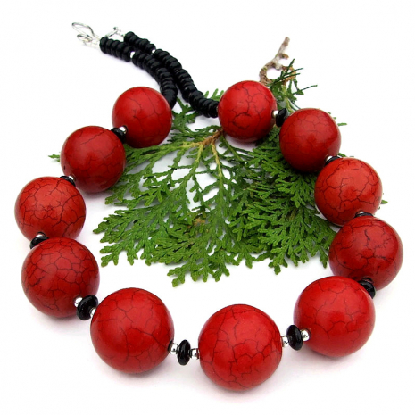 statement jewelry red magnesite black onyx sterling silver