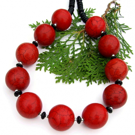 statement necklace red magnesite black onyx sterling silver