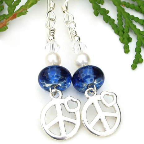 sterling peace signs handmade earrings with blue lampwork and pearls