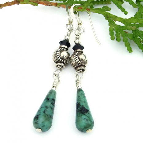 turquoise teardrop and sterling jewelry for women