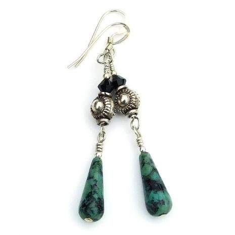 turquoise teardrop and sterling earrings gift idea for women