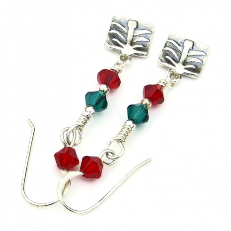 sterling silver christmas tree earrings red green swarovski crystals