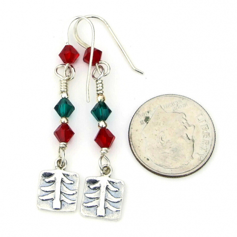 sterling silver christmas tree jewelry red green swarovski crystals