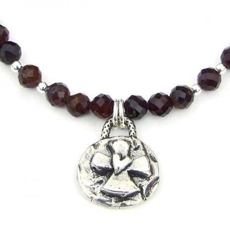 sterling silver cross heart pendant necklace red garnet