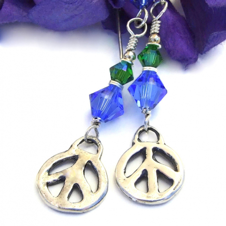 sterling silver peace sign earrings with swarovski crystals
