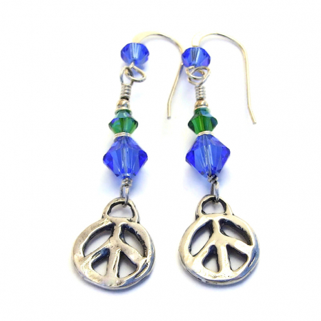 sterling silver peace sign jewelry with swarovski crystal