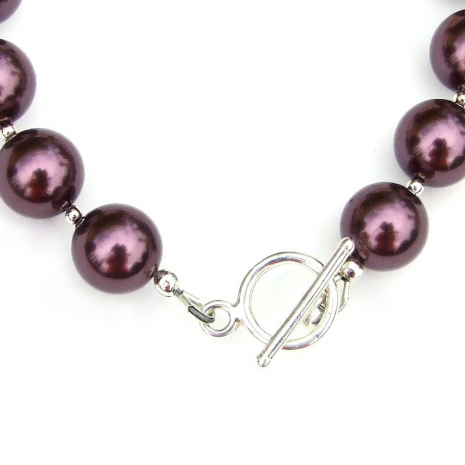 sterling silver toggle clasp set finishes the swarovski pearl bracelet