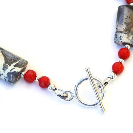 sterling silver toggle clasp set finshes the gemstone bracelet