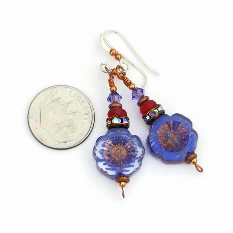 czech glass pansy flower jewelry gift idea