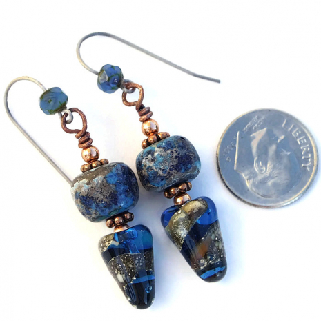 Artisan blue lampwork spike fashion earrings.