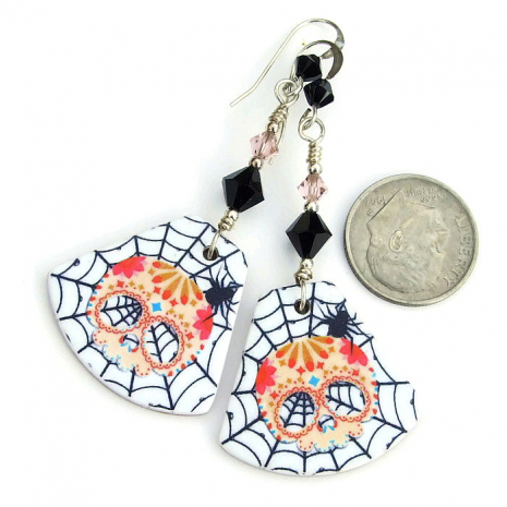 Sugar skull, spider and spider web jewelry