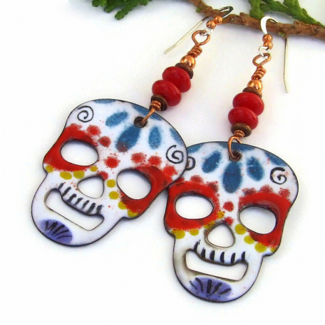 sugar skull earrings for women halloween day of the dead