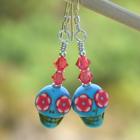 sugar skull earrings gift for women handmade