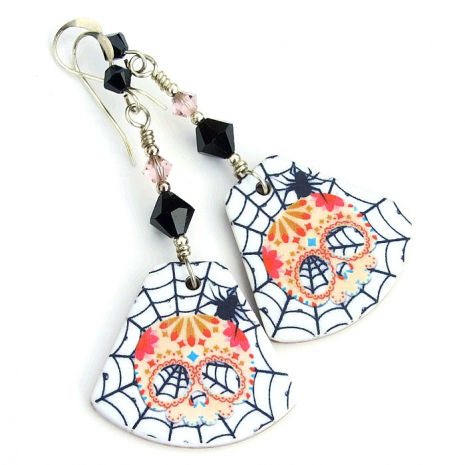 sugar skull jewelry with spiders