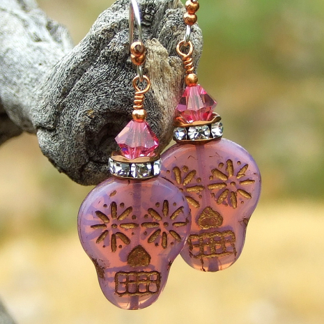 pink opal and crystal sugar skull earrings halloween day of the dead