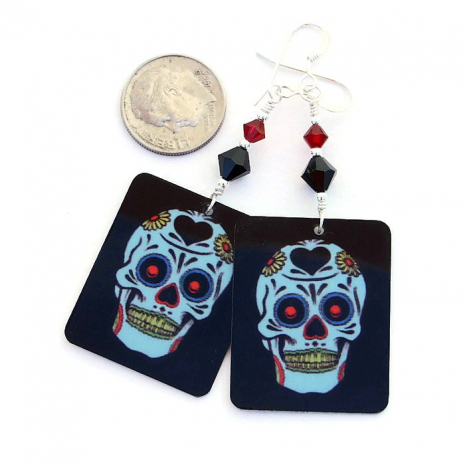 Fun Day of the Dead and Halloween sugar skull earrings.
