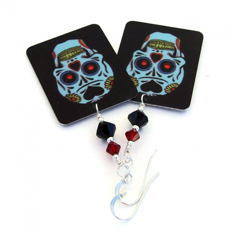 One of a kind handmade sugar skulls and crystals earrings.