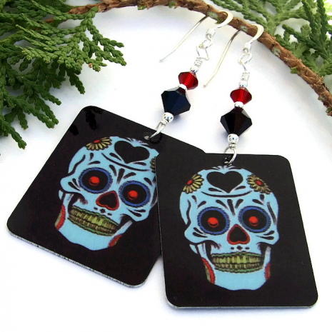 Sugar skulls Halloween earrings.