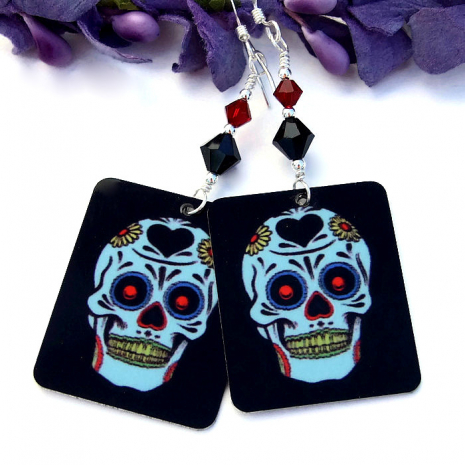 Sugar skull Day of the Dead earrings.