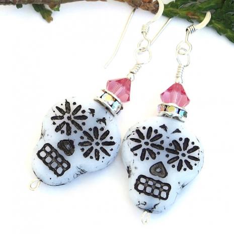 sugar skulls day of the dead handmade earrings