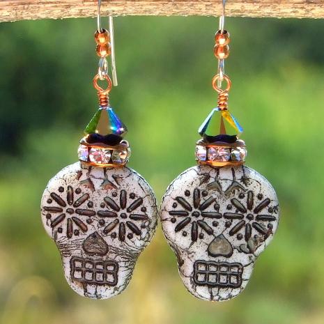 sugar skulls earrings gift for women halloween day of the dead