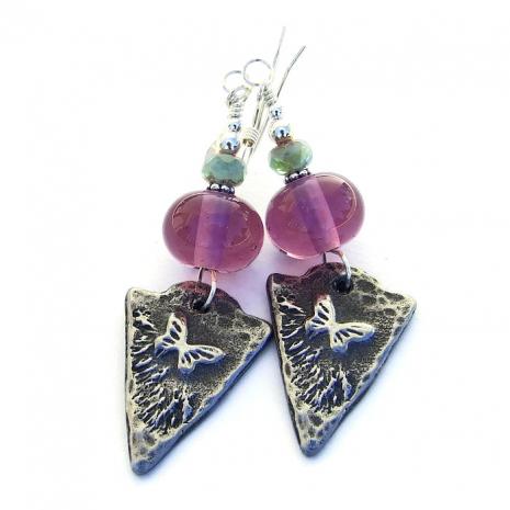 Handmade butterfly earrings.