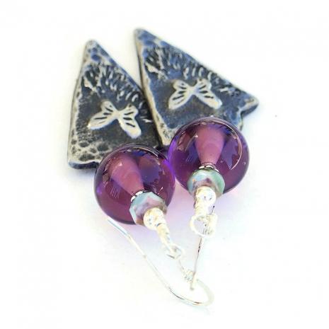 butterfly earrings with purple lampwork beads