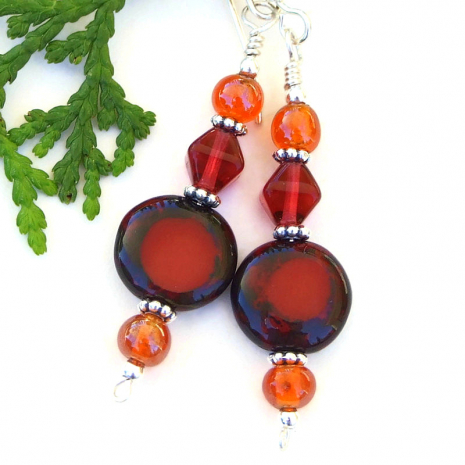summer fall earrings with red and orange glass beads