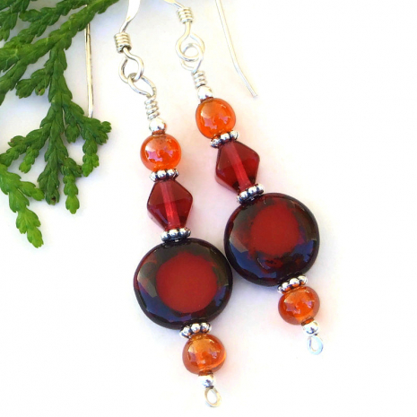 summer fall jewlry with red and orange glass beads
