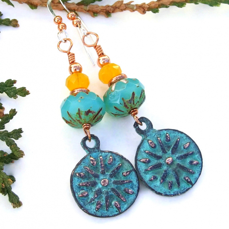 sun charm earrings mykonos aqua turquoise yellow