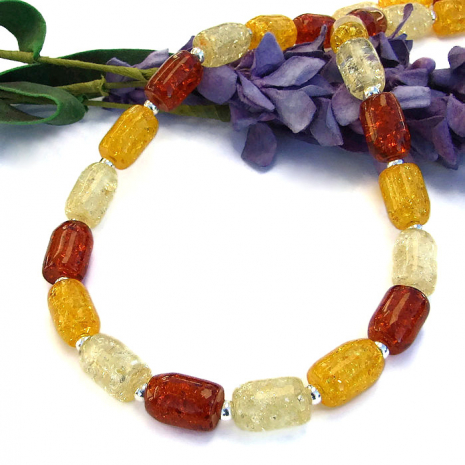 "The ""Sun Dance"" necklace was handmade with 3 colors of pressed amber - beautiful"