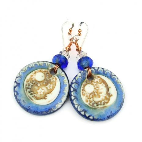 sun moon stars ceramic earrings gift for her