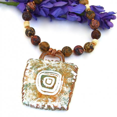sun petroglyph pendant jewelry with leopardskin jasper gemstones