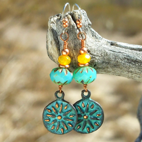 sun rays handmade charm earrings Mykonos copper