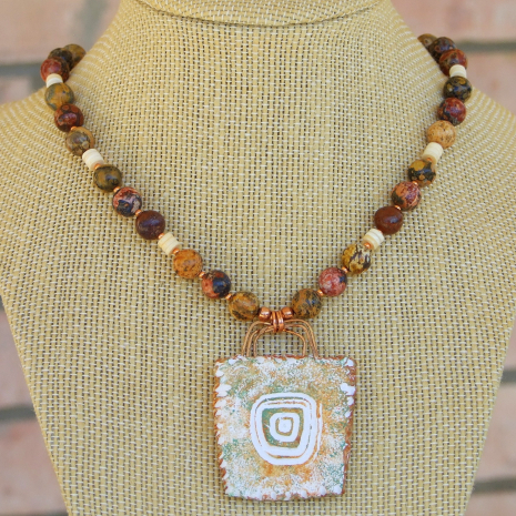 sun symbol pendant and leopardskin jasper gemstone handmade necklace
