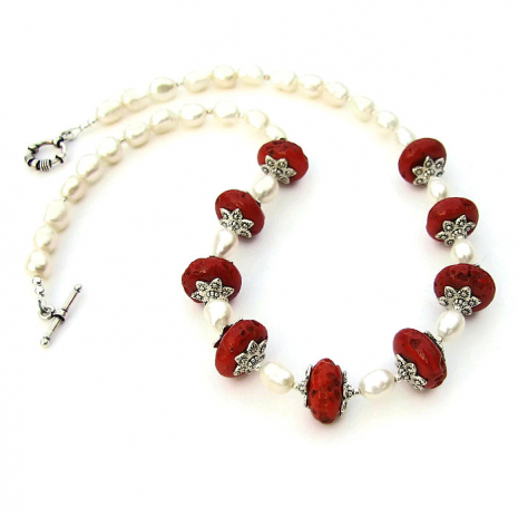 Red Nepal glass bead and pearl necklace.