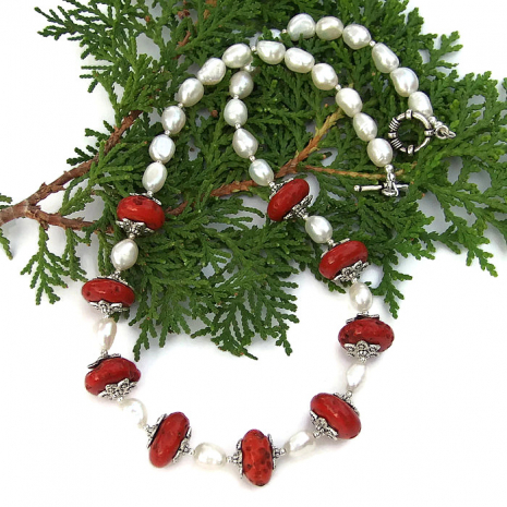 red and white ethnic necklace for her.