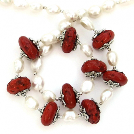 Nepal Sherpa red bead and white pearl handmade necklace.