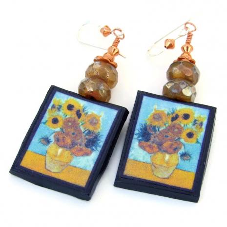 sunflowers vincent van gogh art earrings gift for her