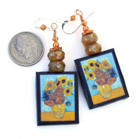 sunflowers vincent van gogh art jewelry gift for her