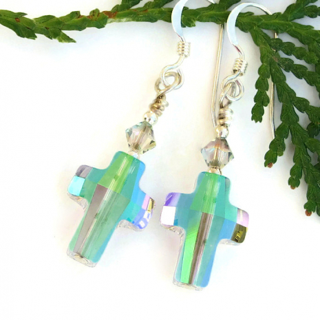 crystal paradise shine cross earrings for her