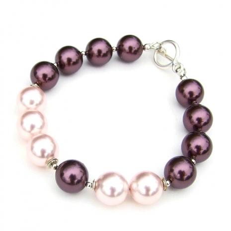 swarovski pearl and sterling silver bracelet for her