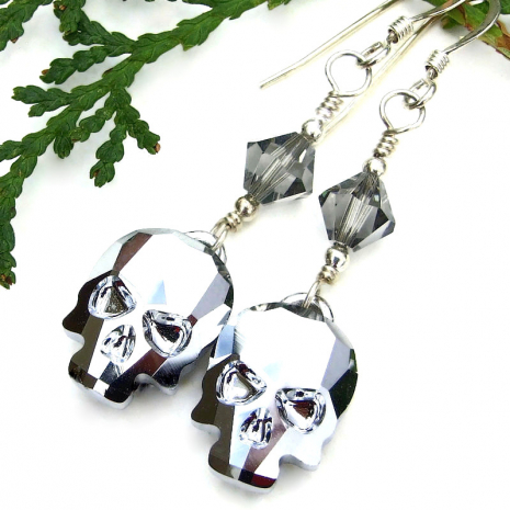 swarovski skulls day of the dead halloween earrings