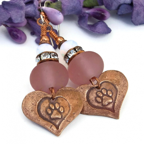 Dog rescue hearts and paw print handmade earrings with lampwork beads.