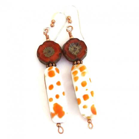 Artisan handmade shell and pansy flower earrings for summer wear!