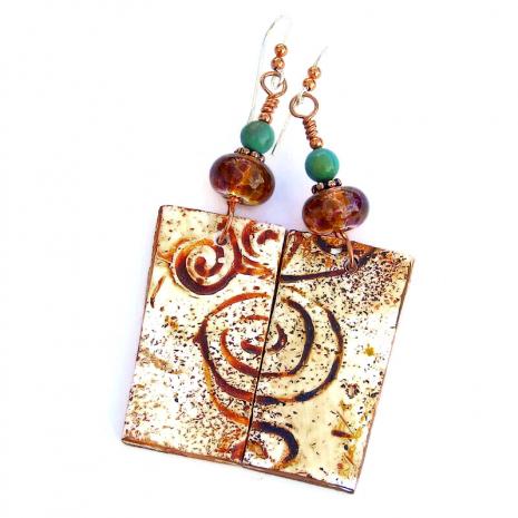swirling spiral petroglyph earrings for women