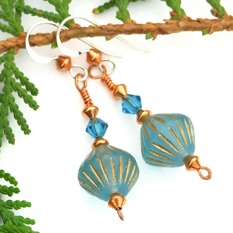 One of a kind turquoise blue Czech glass earrings with Swarovski crystals
