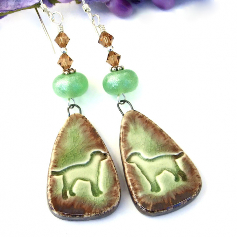 teardrop ceramic dog rescue earrings