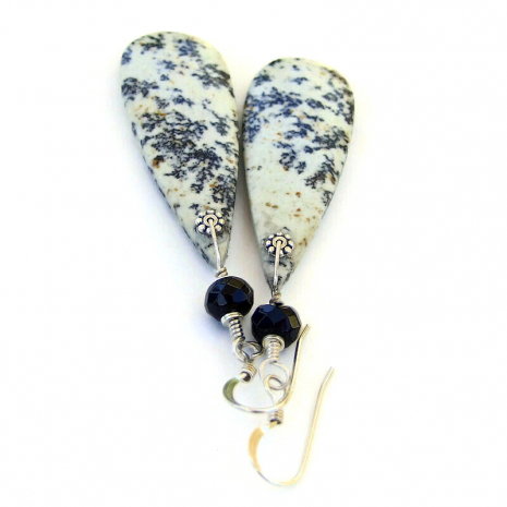 teardrop dendritic jasper gemstone jewelry black onyx