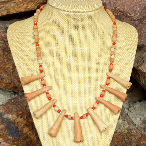 Terracotta and red coral tribal jewelry